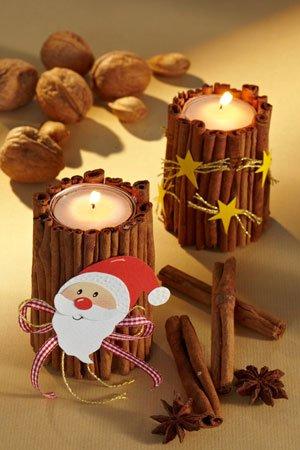 Kerzenst nder basteln zimtlichter f r weihnachten for Basteln fur weihnachten