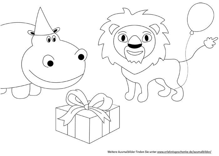 bild 8  malvorlage nilpferd löwe und geschenk